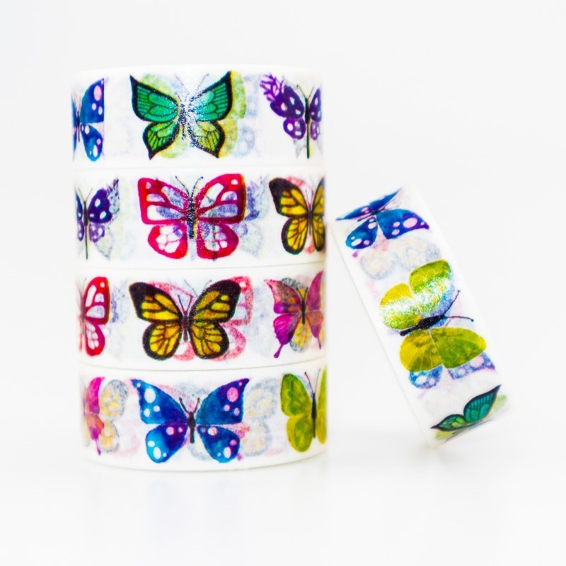 Multiple Butterfly Patterns Washi Masking Tape Sticky Color Decorative Tape Set DIY Decoration Office Stationery Scrapbook 1PCS