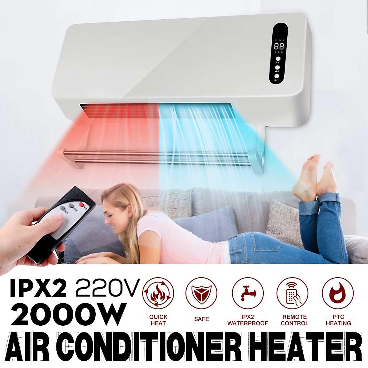 Le plus nouveau 2000 W chaud Cool double usage mural chauffage Timing espace chauffage climatiseur Purification d'air Ultra-large ventilateur de refroidissement