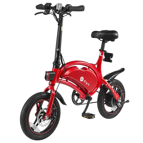 F-roue DYU D3 Intelligent Pliant Vélo Électrique Cyclomoteur Vélo 10.4Ah Li-ion batterie 14 ''Tire 250 w moteur vélo électrique LED Lumière
