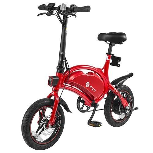 F - wheel DYU D3 Smart Folding Electric Bike Moped Bicycle 10.4Ah Li-ion battery 14'' Tire 250W motor Electric Bicycle LED Light 2017 dyu d1 electric foldable bike luxury type