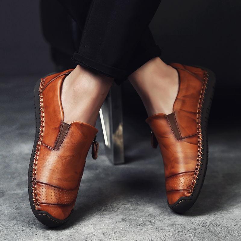 Sapatos Preto De Dark Moda Homens Marrom Genuínos Para Nova 2019 Populares Mais Couro Casuais black Brown yellow Sapatilha Brown Marca ZwE0xq6