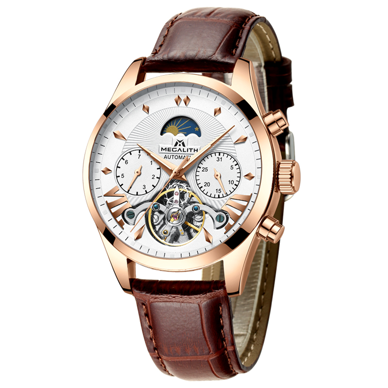 MEGALITH Fashion Men's Automatic Mechanical Watch Tourbillon Leather Casual Business Watches Men Sport Wristwatch Relojes Hombre