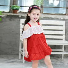 Kids clothes girls dress 2019 summer new cotton lace baby sling stitching childrens clothing