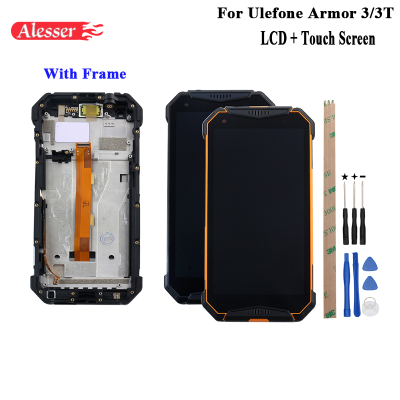 Alesser For Ulefone Armor 3 LCD Display and Touch Screen Assembly With Frame +Tools And Adhesive For Ulefone Armor 3T PhoneAlesser For Ulefone Armor 3 LCD Display and Touch Screen Assembly With Frame +Tools And Adhesive For Ulefone Armor 3T Phone