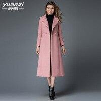 Шерстяное пальто женское 2019 зимнее Новое Розовое длинное пальто женское с отложным воротником двубортное высококачественное кашемировое