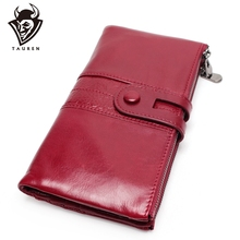 Genuine Leather Women Wallet Female Coin Purse Hasp Portomonee Clutch Phone Bag Lady Handy Card Holder Long For Girl Red kavis genuine leather women wallet purse coin female portomonee walet lady long handy money card holder clutch gift for girls