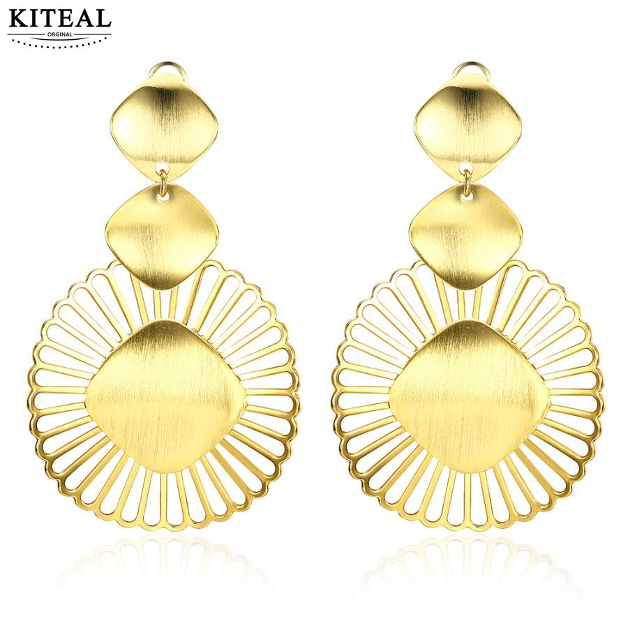 KITEAL Xmas Gift Gold color Girl earrings round gold long earrings big gold jewelry plated brinco Costume Jewellery
