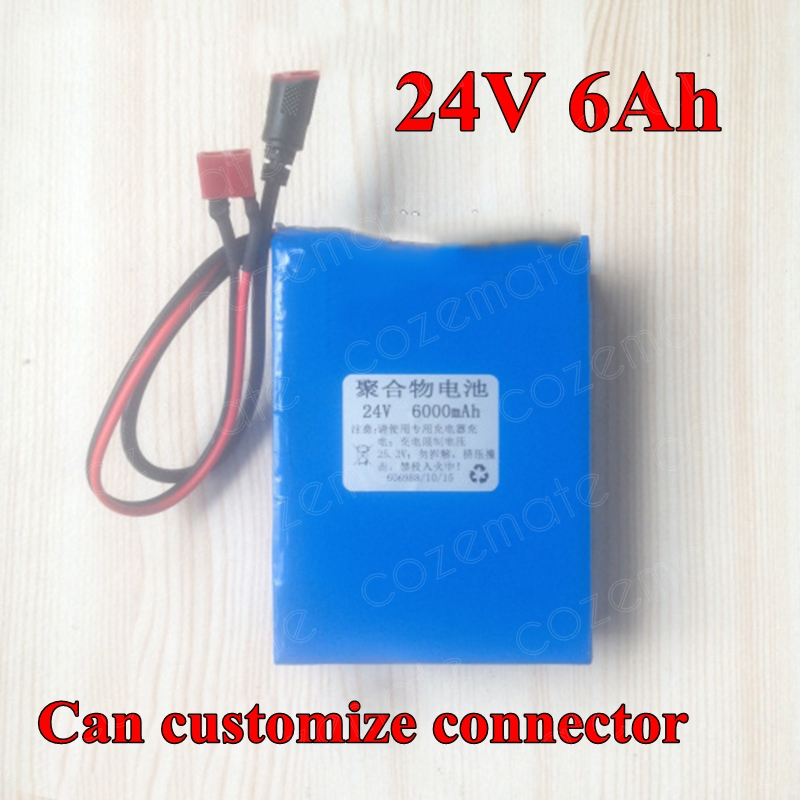24V 6Ah 6S Lithium Li polymer Battery 25 2V 6000mAh 18650 Lithium Ion Battery with 10A