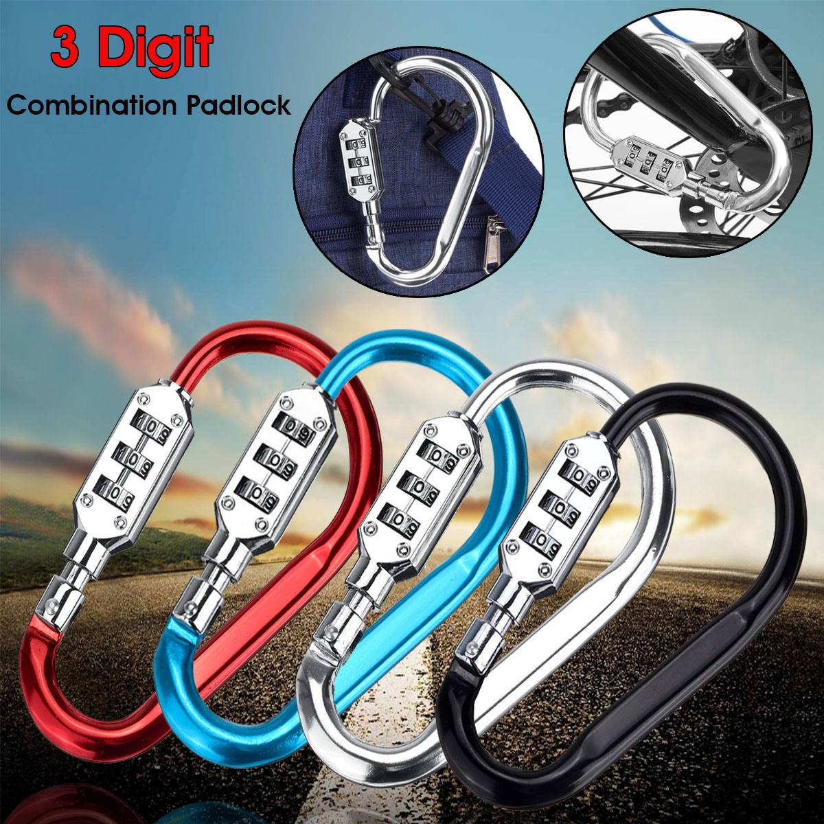 3 Digit Combination Lock Travel Luggage Suitcase Code Padlock Motorcycle Bicycle Helmet Security Locks