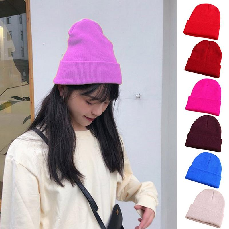 Knitted Hat Solid Color Wool Hats   Skullies     Beanies   Cap Cute For Women Ladies Outdoor Winter Warm Knit Caps Fashion Simple   Beanie