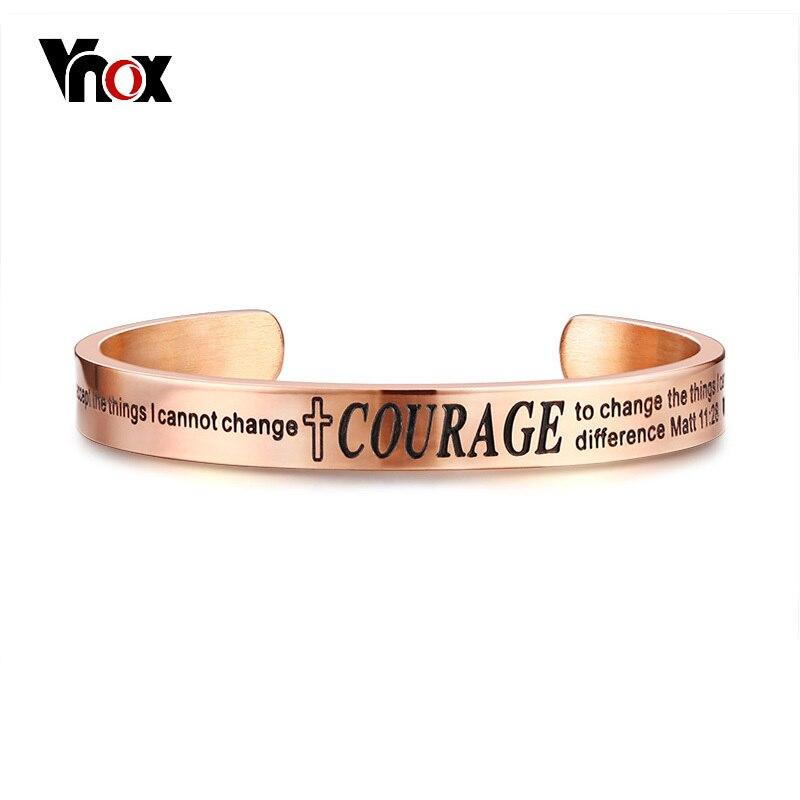 Vnox Christian Bible Quote Bangle for Women Men Serenity Courage Wisdom Adjustable Cuff Bracelet Wristband Elegant Jewelry crucifixo pingente de ouro masculino