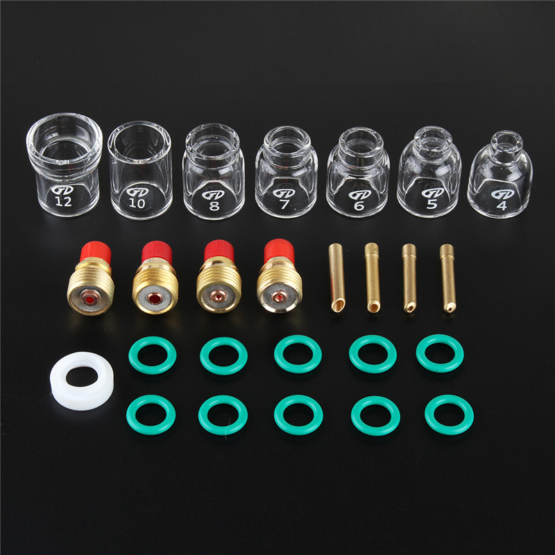 26pcs TIG Welding Accessories Torch Clamp Slot Cup Ring Glass For WP-9/20/25 Power Tool Accessories Tools Kit Set New 2018