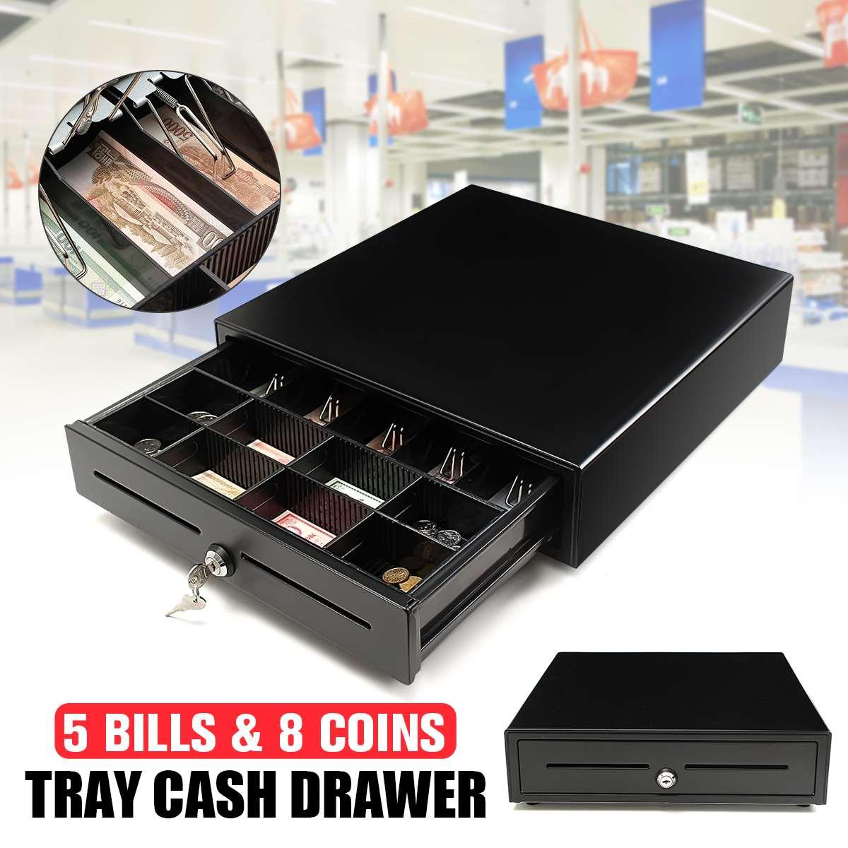 Heavy Duty POS Cash Drawer Register 5 Bills 5 Coins Removable Cash Tray Till Box