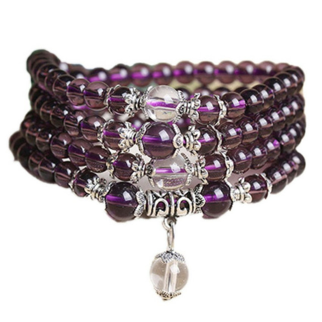 6mm 108 Beads Purple Natural Crystal Bracelet Brazil Prayer Beads Multi layer Rosary Mala Bracelets