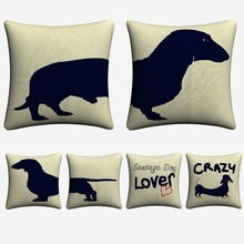 Sausage Dog Black White Pair Style Decorative Cotton Linen Cushion Cover 45x45 cm For Sofa Chair Pillowcase Home Decor Almofada
