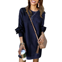 Women Fashion O Neck Ruffle Sleeve Side Slit Asymmetric Hem Sweatshirt Dress Ladies Casual Autumn Winter Long Sleeve Jumper Mi