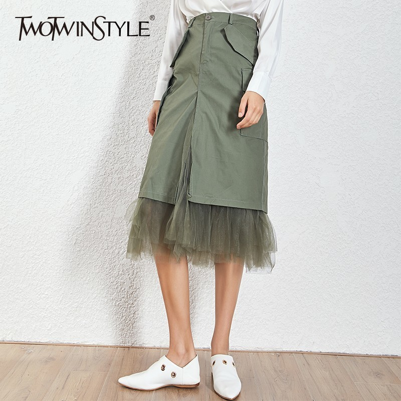 TWOTWINSTYLE Mesh Patchwork Skirts For Women High Waist Split Midi Skirt Female Large Size Spring 2019 Streetwear Fashion Tide