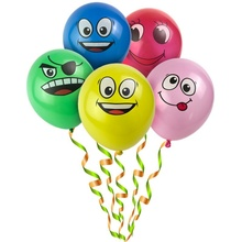 10pcs Cute Printed Big Eyes Smiley Latex Balloons Birthday Party Decoration Inflatable Air Ballons Balls for Kids Gift 12 Inch