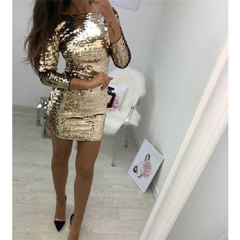 Dames Formele Avond Party Sexy Sequin Club Korte Jurken Sexy Vestidos Herfst Jurken Vrouwen Gouden Pailletten Bodycon Jurk
