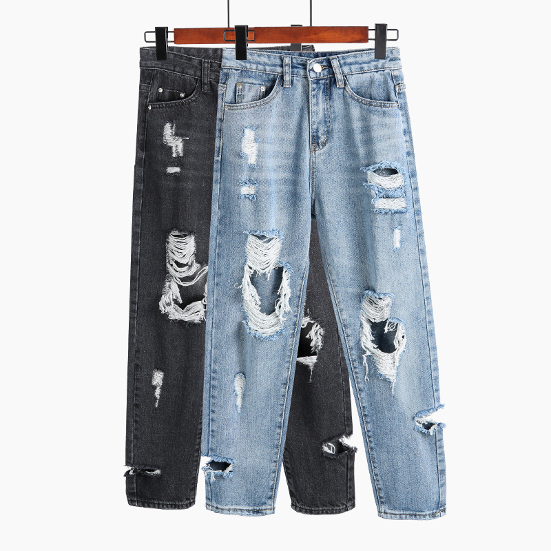 2019 New Loose Harem Pants Vintage High Waist Boyfriend Jeans Womens Ripped Holes Ankle Length Pants Casual Cowboy Pants in Jeans from Women 39 s Clothing