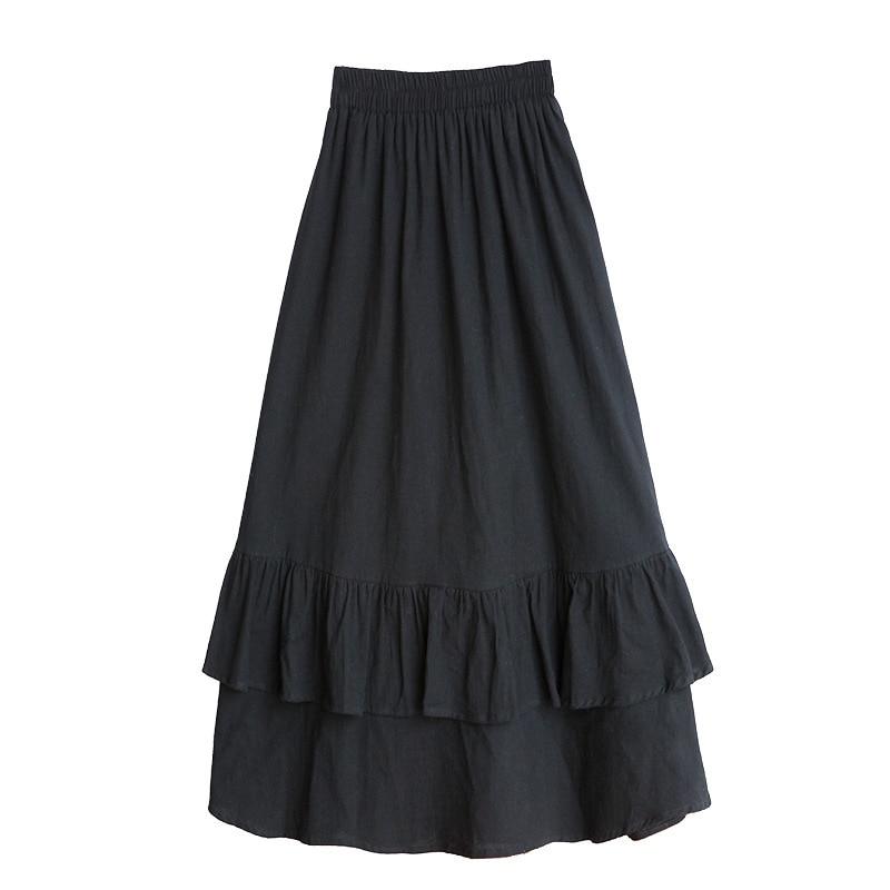 Spring Summer Elastic Waist Skirts Womens 2019 Korean Elegant High Waist A-line Skirt Female School Black Long Skirts Vestidos Price $16.99