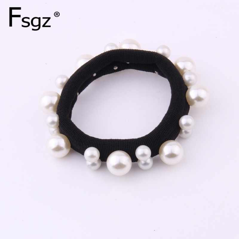 Newest Fashion Pearl Rubber Band For Women High Quality Pearls Paved Elastic Hair Bands Metal Color Beads Hair Gum Accessories