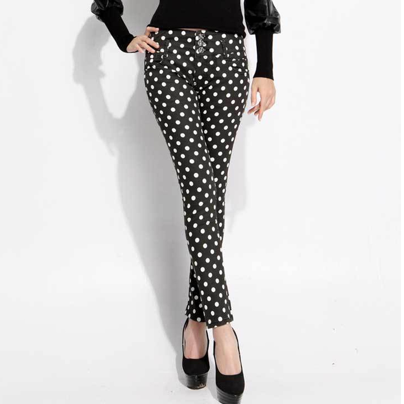 Lady Black Jeans Pants For Women High Waist Skinny Jeans Stretch Buckle Dot Jeans Woman Casual Soft Slim Curvy Denim Pencil Pant
