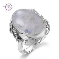 Натуральный лунный камень, кольца для мужчин, женское серебро 925 пробы, Ювелирное кольцо с большими камнями, 11x17 мм, овальные драгоценные кам...