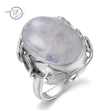Natural Moonstone rings For Men Women's 925 Sterling Silver Jewelry Ring With Big Stones 11x17MM Oval Gemstones Gifts Wholesale vintage finger rings for men women oval 11x17mm big stones 925 silver jewelry ring party weeding anniversary engagement gifts