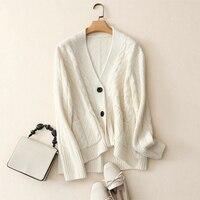 Shuchan Для женщин топ Осенне зимнее пальто 100 кашемировые кардиганы плюс Размеры белые пуговицы верхняя одежда Вязание кардиганы