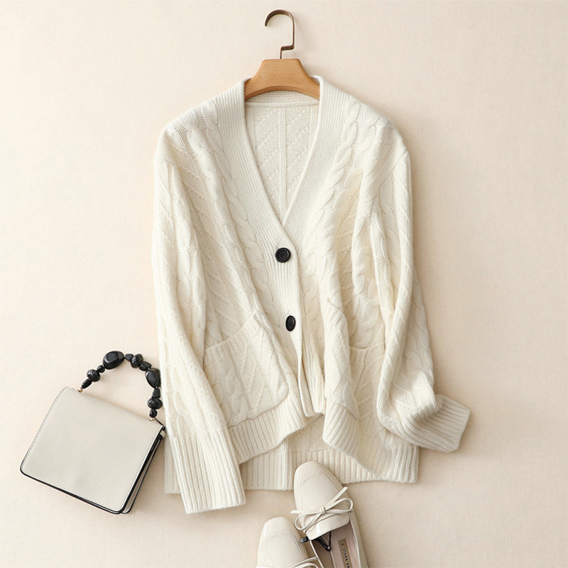 Shuchan Women Top Autumn Winter Coat 100 Cashmere Cardigan Sweaters Plus Size White Buttons Outerwear Female Knitting Cardigans