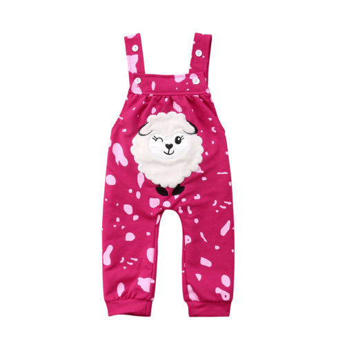 6626ac85e Sweet Baby Girls Summer Romper Cartoon Lamb Print Floral Jumpsuit ...
