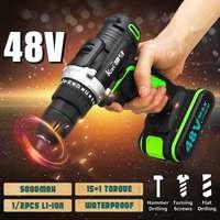 48V Cordless Electric Impact Drill 28Nm 15+1 Torque Driver Kit Hammer Screwdriver Brushless 2 Li on LED Power Tools