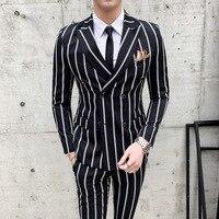 Строгий костюм полосатый Свадебный Мужской корейский Костюм приталенный костюм Homme Качество Бизнес Blazer Блейзер и брюки