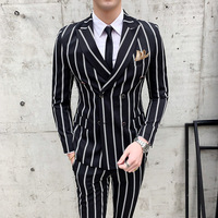 Casual Tuxedo Striped Wedding Men Korean Dress Suits 2PCs Suit Slim Fit Costume Homme Quality Business M 3XL Blazer And Pant