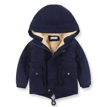 100cm Cute Sleeve Kids Coat Fall Hooded Boys Winter Casual