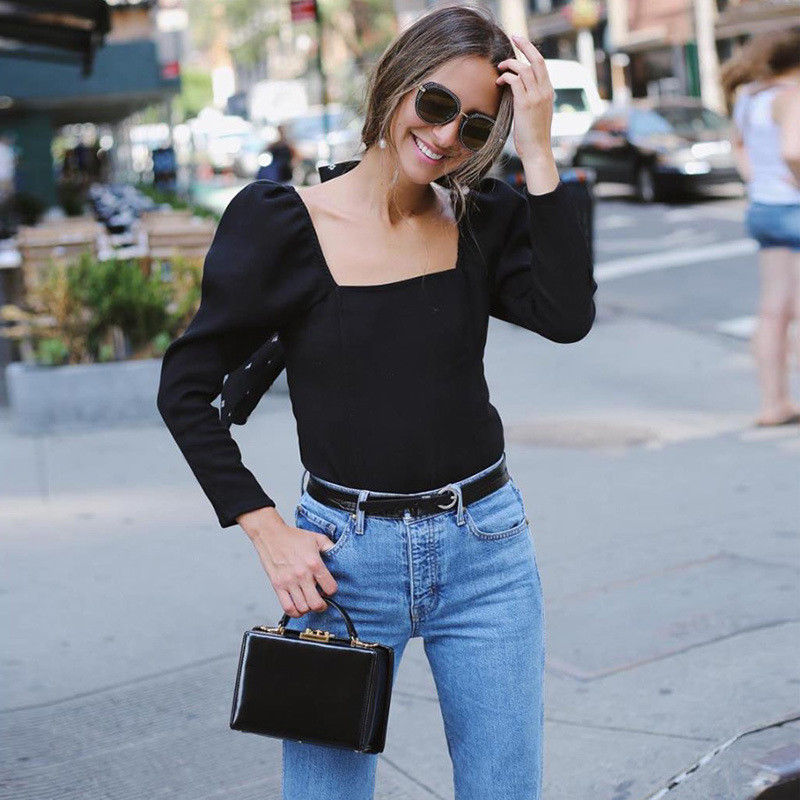 a587c7508a Black Workwear Elegant Scallop Trim Solid Square Neck Long Sleeve Skinny  Tee 2019 New Spring Minimalist