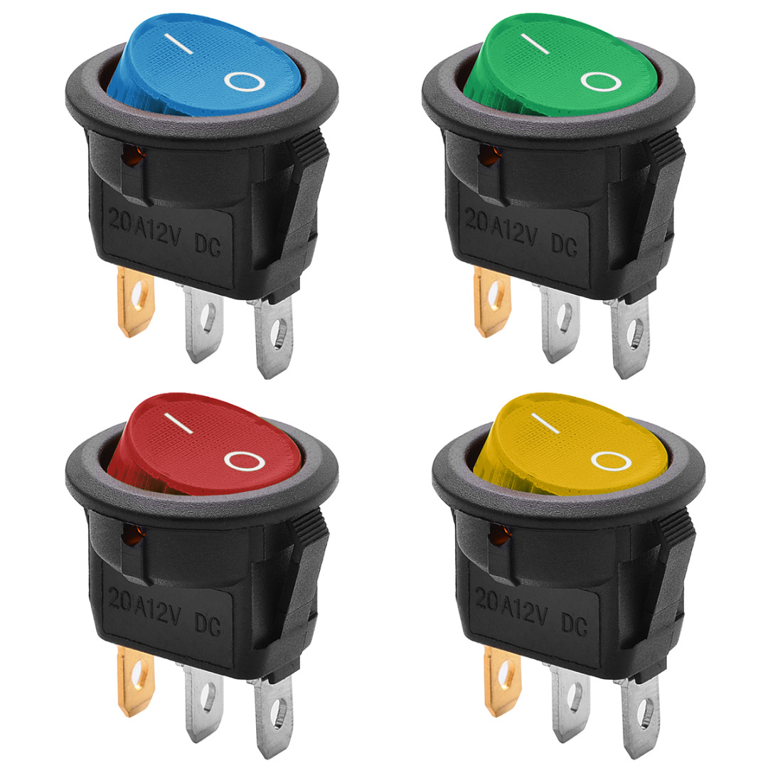 detail feedback questions about 1x red blue green yellow rockerdetail feedback questions about 1x red blue green yellow rocker switch on off round switch with led illuminated car dashboard dash boat van 12v on
