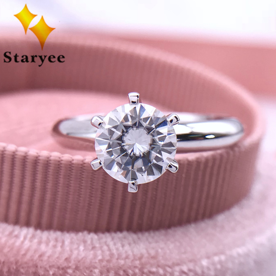 Staryee 1 Carat G Color Solitaire Moissanite Engagement Rings For Women Charles Colvard Forever One Pure