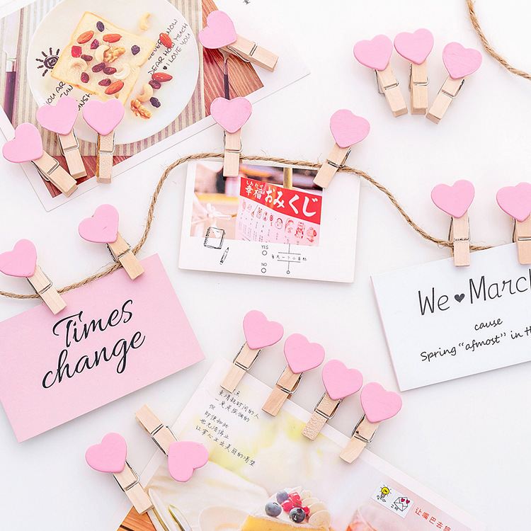 Pink Colour Girl Atria Between Metope Arrangement Decoration Clip Ins Photo Heart-shaped Wall Pink Colour Love Small Wood Clip