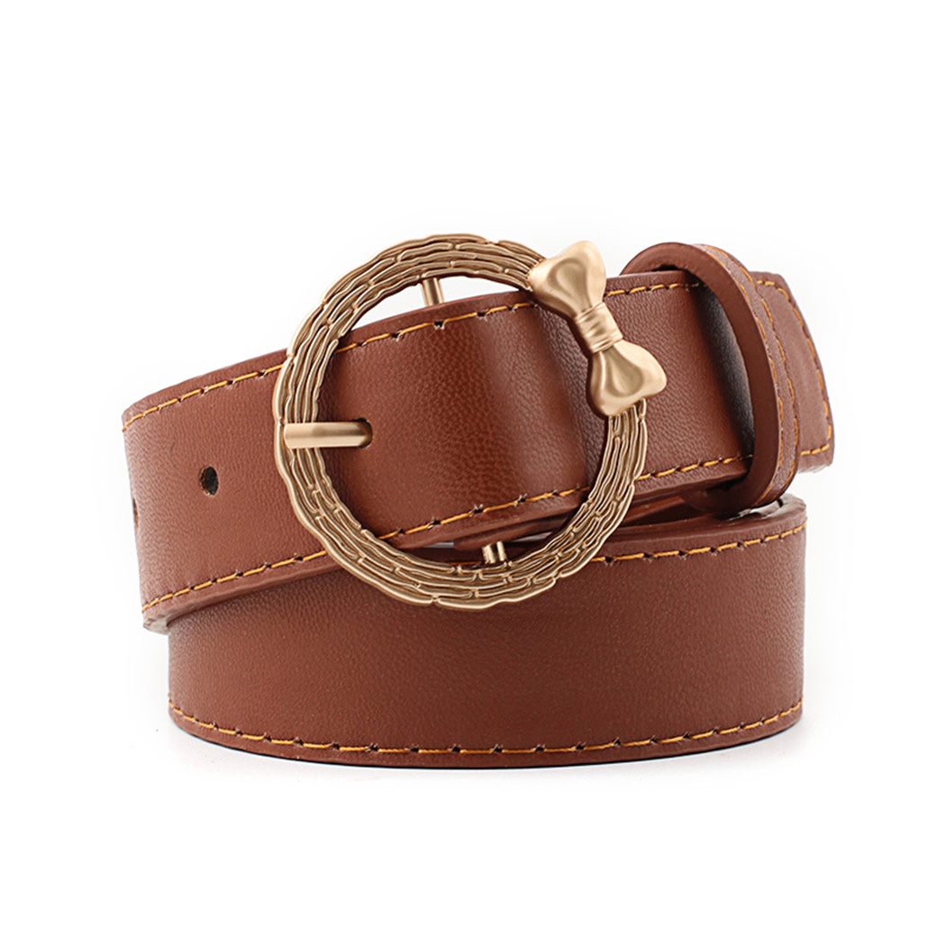 Fashion PU Leather Waist Belts Bow Circle Pin Buckle Belt For Women Vintage Gold Round Buckle Belt For Jeans Pants Waistband
