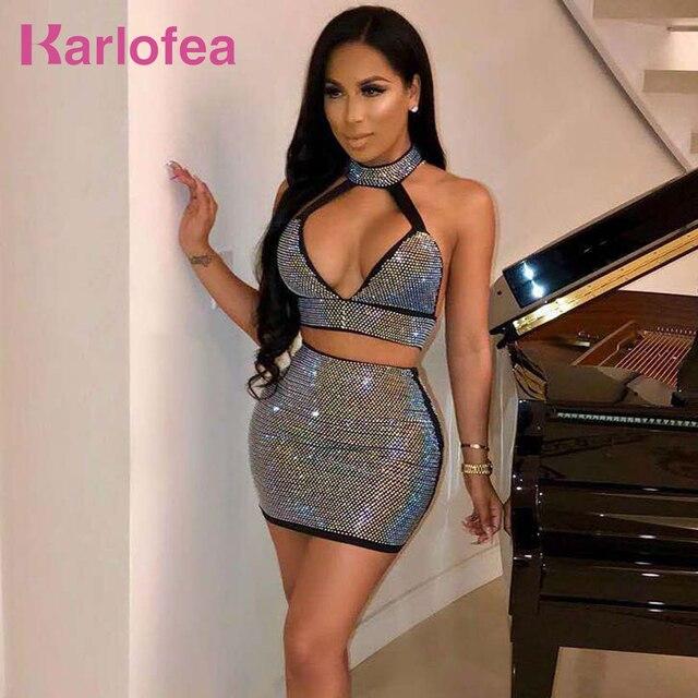 Karlofea Shiny Rhinestone Diamonds Dress Sexy Low Neck Birthday Party Dress  Sleeveless Halter Two Piece Dress adf2d6ff4447
