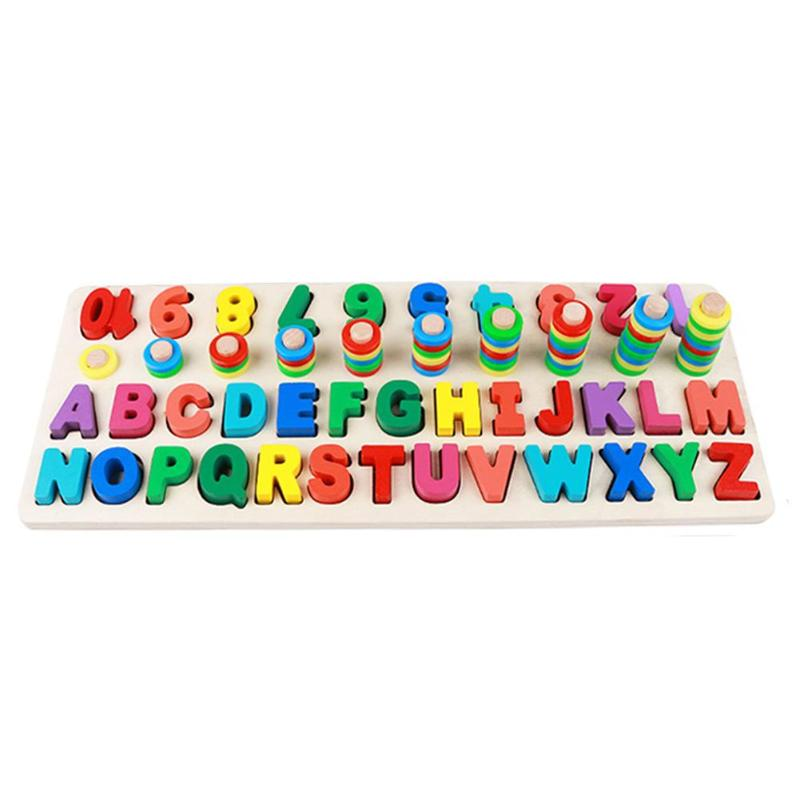 Wooden Cute Style Three-in-one Math Letter Board Child Early Educational Puzzle Toys Colorful Geometry Learning Board