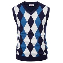 Классический английский стиль, мужские вязаные топы, свитер, стильный, без рукавов, v-образный вырез, контрастный цвет, тонкий пуловер, вязаный жилет, трикотаж