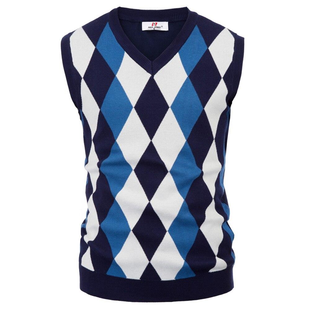Clássico Inglaterra Estilo Homens de malha da camisola tops Elegante Sem Mangas Com Decote Em V da Cor do Contraste fino Pullover Colete De Tricô Malhas