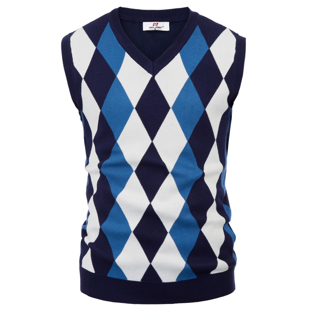 Classic England Style Men Knitted Tops Sweater Stylish Sleeveless V-Neck Contrast Color Slim Pullover Knitting Vest Knitwear