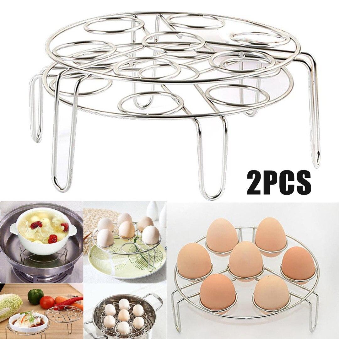 2Pcs  Egg Steamer Rack Stackable 304 Stainless Steel Steam Trivet 0527