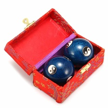 Chinese Cloisonne Hand Massage Health Exercise Stress Baoding Ball Yin Yang Fitness Handball Relaxation Therapy Tai Chis Pattern jade fitness handball in the elderly health care massage player of the chinese new year spring festival gift box