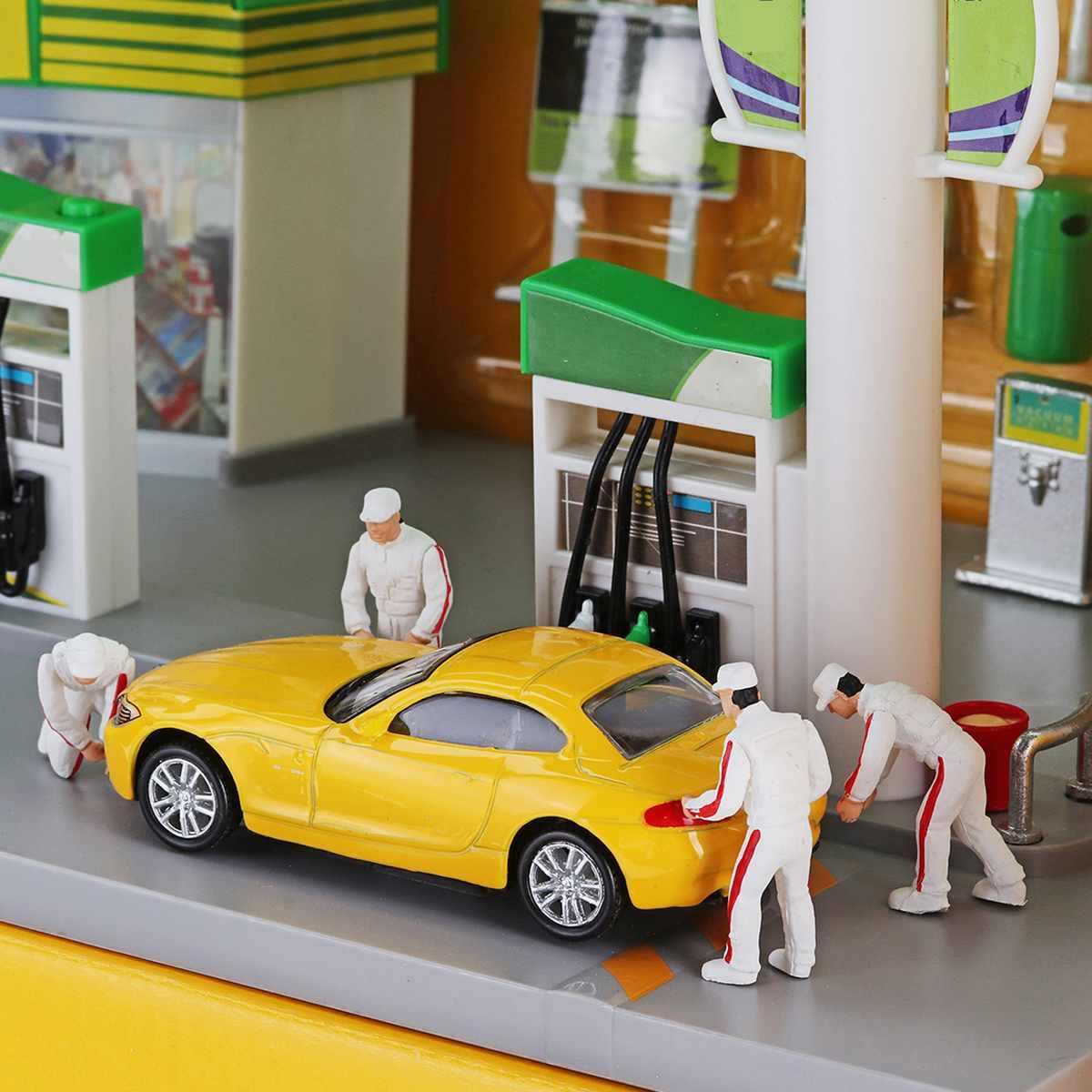 1: 64 4 Pcs Auto Memperbaiki Orang Pria untuk Race Medali Teknisi Perbaikan Model Skenario Kotak Korek Api Orang Mainan (Mobil Tidak termasuk)