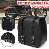 Motorcycle Saddlebags Leather Luggage Storage Tool Pouch Saddle Bag For Harley Davidson 883